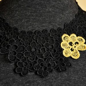 Close-up of Oak Leaf Black and Gold Lace Necklace