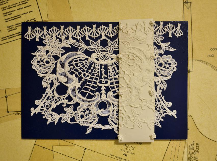 Lace and ceramic wall tile