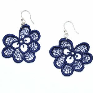 Oakleaf lace earrings in navy blue