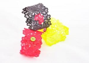 Neon lace cuffs