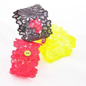 Neon lace Trefoil lacelet cuffs