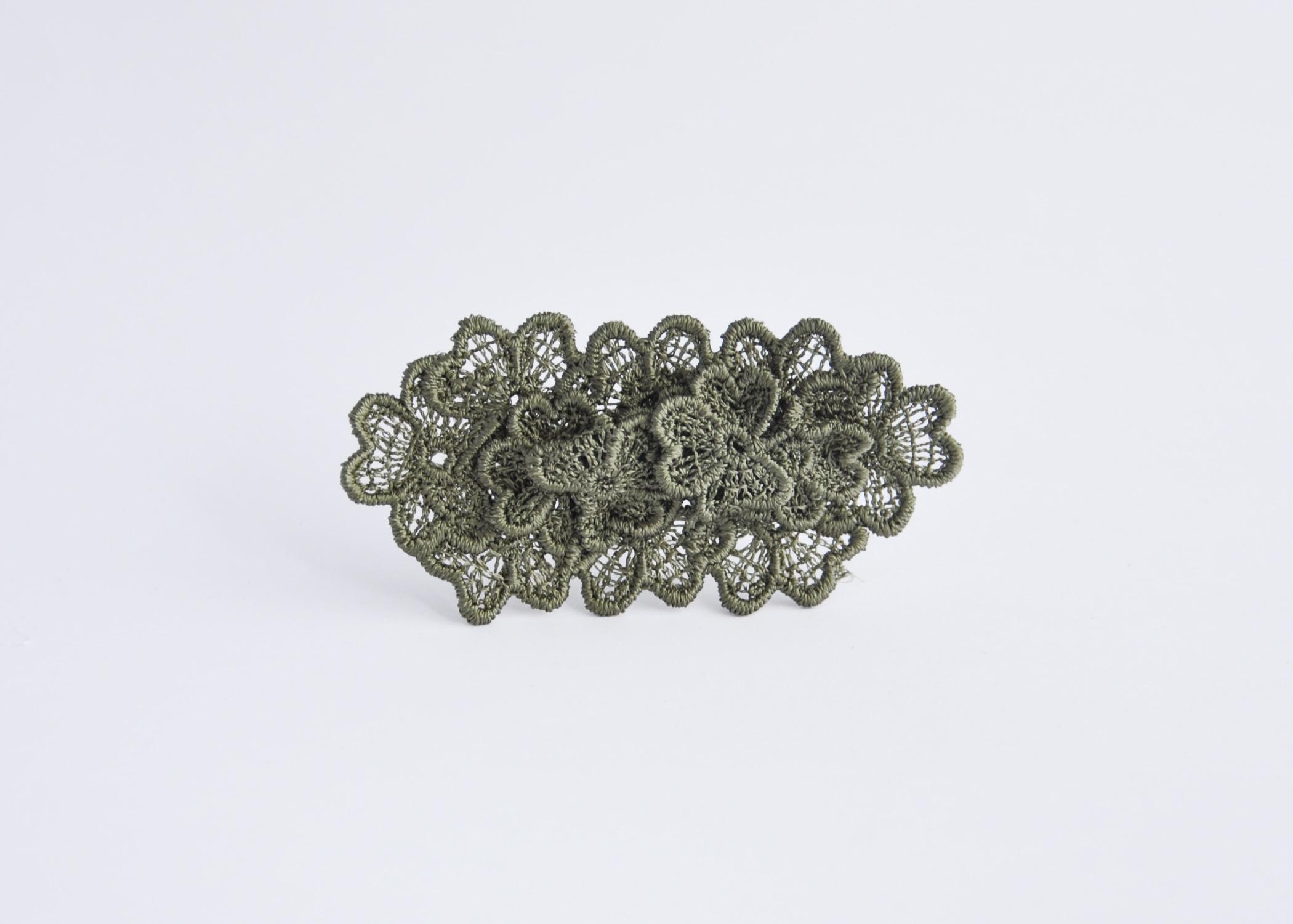 Oval Lace Brooch Khaki