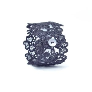 Trefoil Lace Cuff in Soft Black
