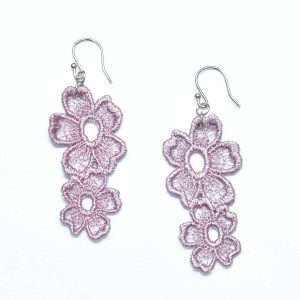 Lace Earring E7 Grey Lilac