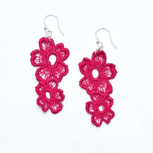 Lace Earring Daisy Dreamer in Raspberry Red