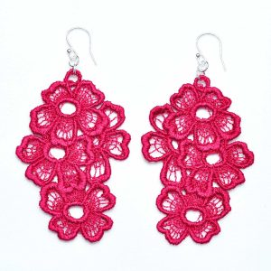 Lace Earring E11 Raspberry Red