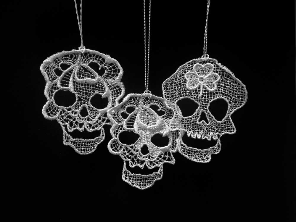 Lace skull hanging ornaments