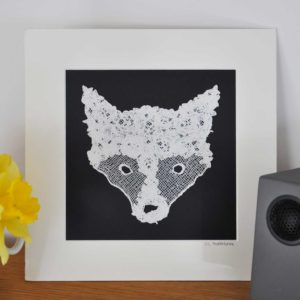 Lace Fox Head, Mounted