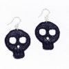 Small black skull lace earrings