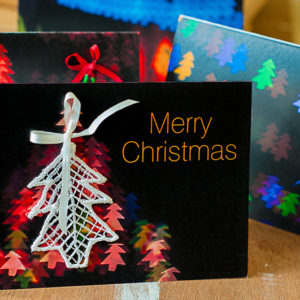 Christmas Cards with Lace Tree Ornaments