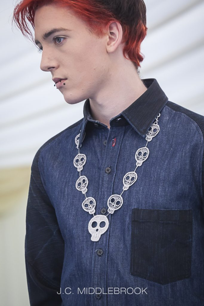 Lace skull chain necklace by JC Middlebrook for you Halloween style