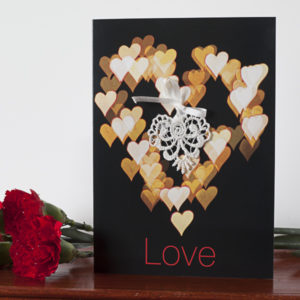 Cream Bokeh Lace Love Card AJLOV001