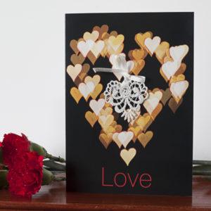 Cream Bokeh Lace Love Card AJLOV001