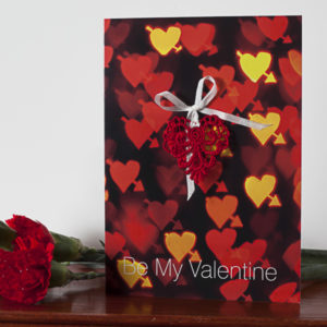 Red Bokeh Lace Valentine Card AJVAL001