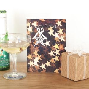 White Bokeh Lace Birthday Card AJHB001