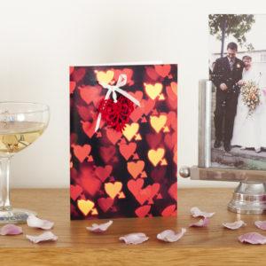 Red Bokeh Lace Heart Card AJPLN001