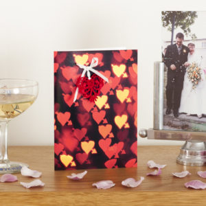 Red Bokeh Lace Heart Card AJPLN001