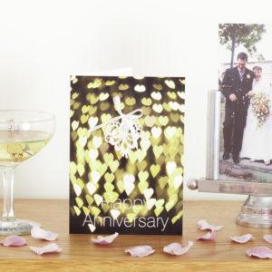 Green Bokeh Lace Anniversary Card AJANN002