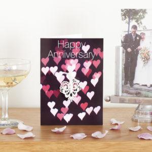 Pink Bokeh Lace Anniversary Card AJANN003