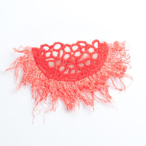 Fringe Lace Brooch in coral