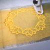 Lotus lace drop earrings commission piece
