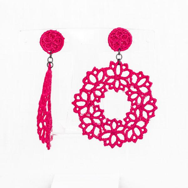 Lotus Lace Drop Earring Raspberry