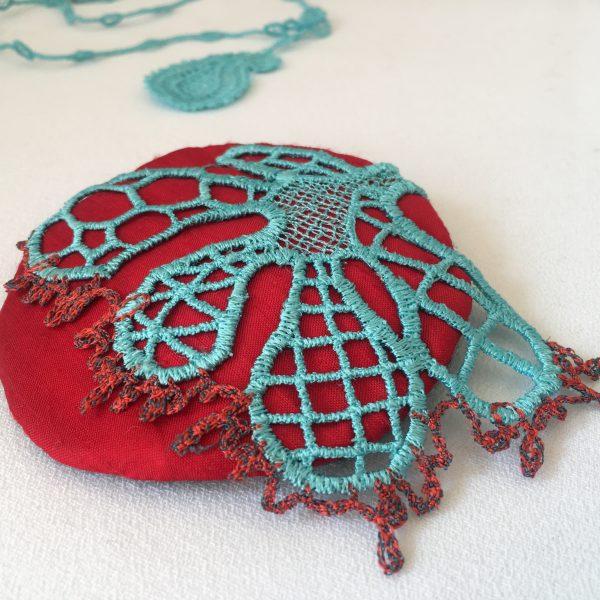 lace silk brooch