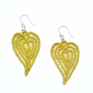 Moroccan Heart lace earrings in lime
