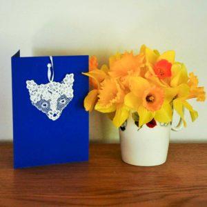 Lace fox greetings card