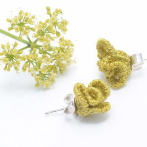 Tiny ruffled lace earrings in lime
