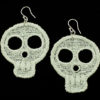 Large white lace skull earrings