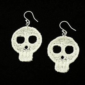 Small white lace skull earrings