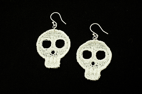 Small Lace Skull Earring