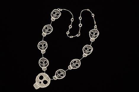 Lace skulls necklace image