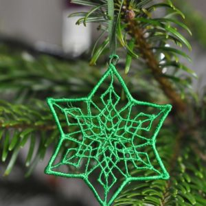 Lace star hanging Christmas ornament