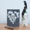 Lace skull hearts card grey