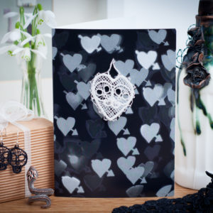 Lace heart skulls keepsake card