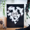 Lace skull hearts card in black