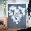 Lace skull hearts card in grey