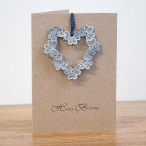 Happy Birthday lace heart keepsake card