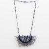 Fringe black lace necklace