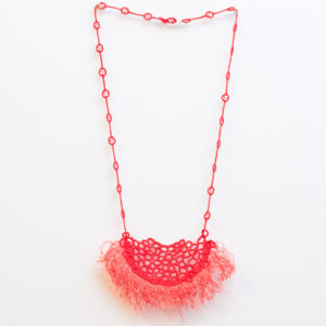 Fringe lace necklace in coral
