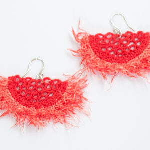 Fringe lace earrings in coral