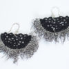 Fringe black lace earrings