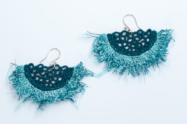 Fringe lace earrings peacock