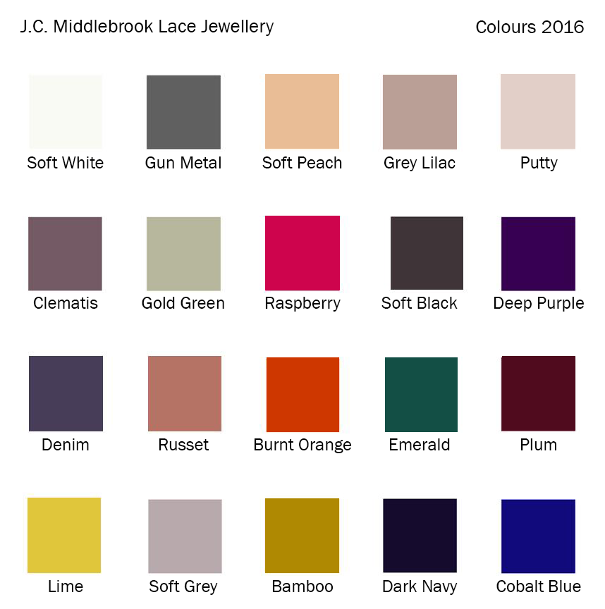 JC Middlebrook colour chart 2016
